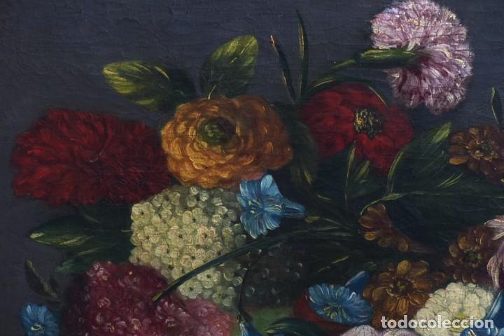 Arte: BODEGÓN DE GRANADAS Y FLORES - SIGLO XVIII - 41 X 53 CM - GRAN CALIDAD. - Foto 4 - 201140586