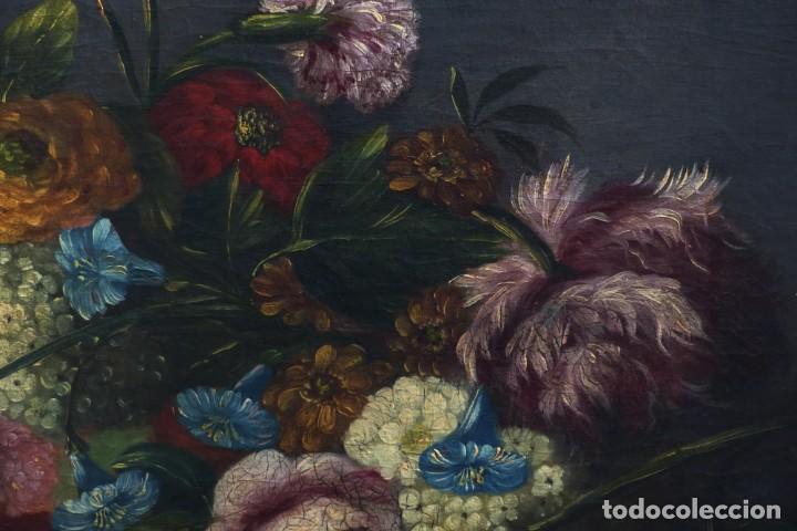 Arte: BODEGÓN DE GRANADAS Y FLORES - SIGLO XVIII - 41 X 53 CM - GRAN CALIDAD. - Foto 5 - 201140586