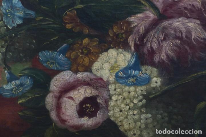 Arte: BODEGÓN DE GRANADAS Y FLORES - SIGLO XVIII - 41 X 53 CM - GRAN CALIDAD. - Foto 6 - 201140586