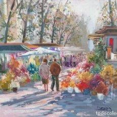Arte: BOULEVARD POR EL ARTISTA MANCHON OLEO SOBRE LIENZO DE 55X46. Lote 201261382