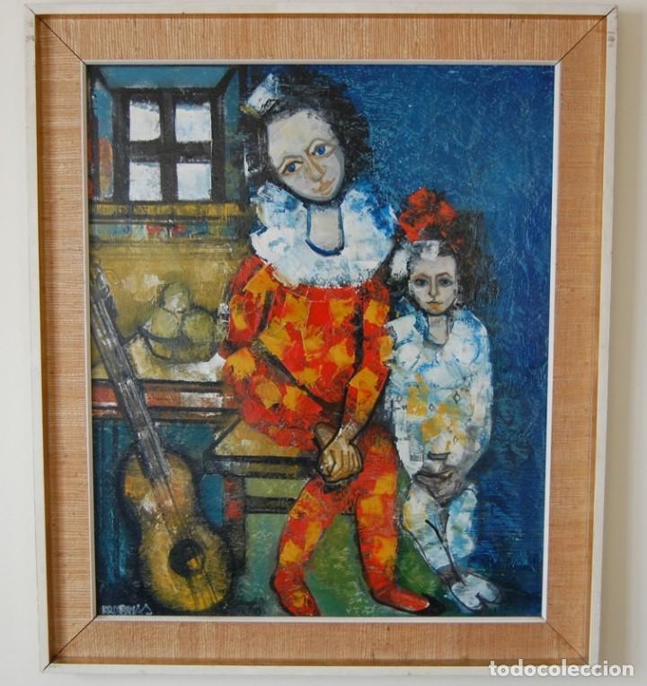 JORDI BONÁS ( *1937, BARCELONA ) - ARLEQUINES: PINTURA EXPRESIONISTA (Arte - Pintura - Pintura al Óleo Moderna sin fecha definida)