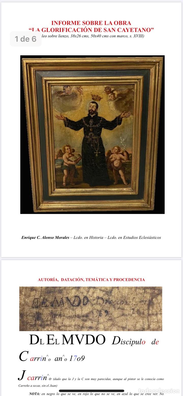 Arte: LA GLORIFICACIÓN DE SAN CAYETANO de Diego López, el Mudo discípulo oficial de Juan Carreño. - Foto 8 - 195056710