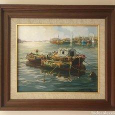 Arte: JOSEP CARRETERO GOMIS (BARCELONA, 1905-1996) - MARINA PORTUARIA.OLEO/TELA.FIRMADO.. Lote 201483727