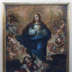 Arte: ÓLEO LIENZO INMACULADA CONCEPCIÓN RODEADA DE ÁNGELES Y ARCÁNGELES ESCUELA SEVILLANA SIGLO XVIII. Lote 229366890
