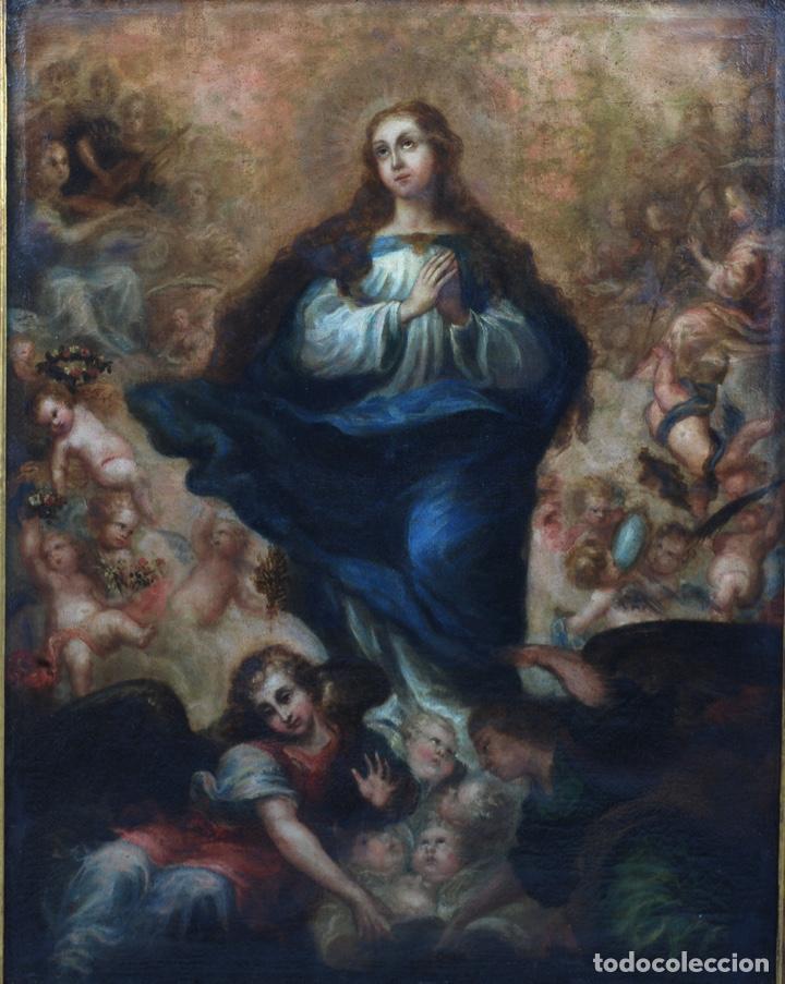 Arte: Óleo lienzo Inmaculada Concepción rodeada de ángeles y arcángeles Escuela sevillana siglo XVIII - Foto 2 - 229366890