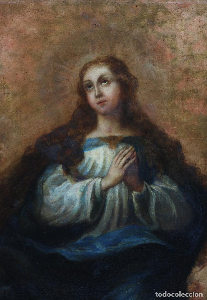 Arte: Óleo lienzo Inmaculada Concepción rodeada de ángeles y arcángeles Escuela sevillana siglo XVIII - Foto 3 - 229366890