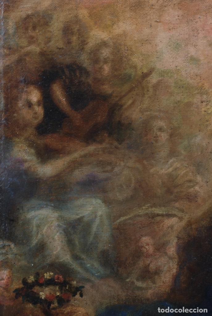 Arte: Óleo lienzo Inmaculada Concepción rodeada de ángeles y arcángeles Escuela sevillana siglo XVIII - Foto 4 - 229366890