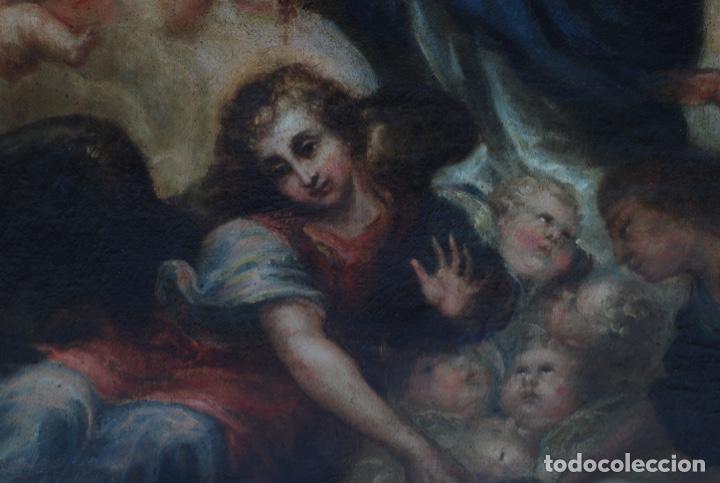 Arte: Óleo lienzo Inmaculada Concepción rodeada de ángeles y arcángeles Escuela sevillana siglo XVIII - Foto 6 - 229366890