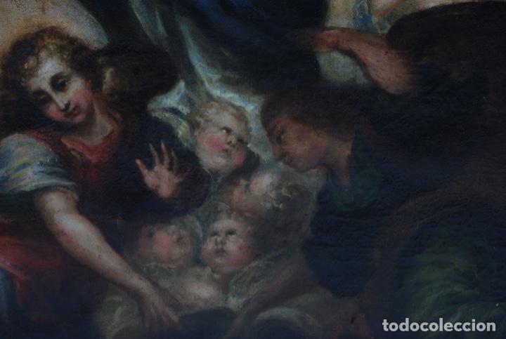 Arte: Óleo lienzo Inmaculada Concepción rodeada de ángeles y arcángeles Escuela sevillana siglo XVIII - Foto 7 - 229366890