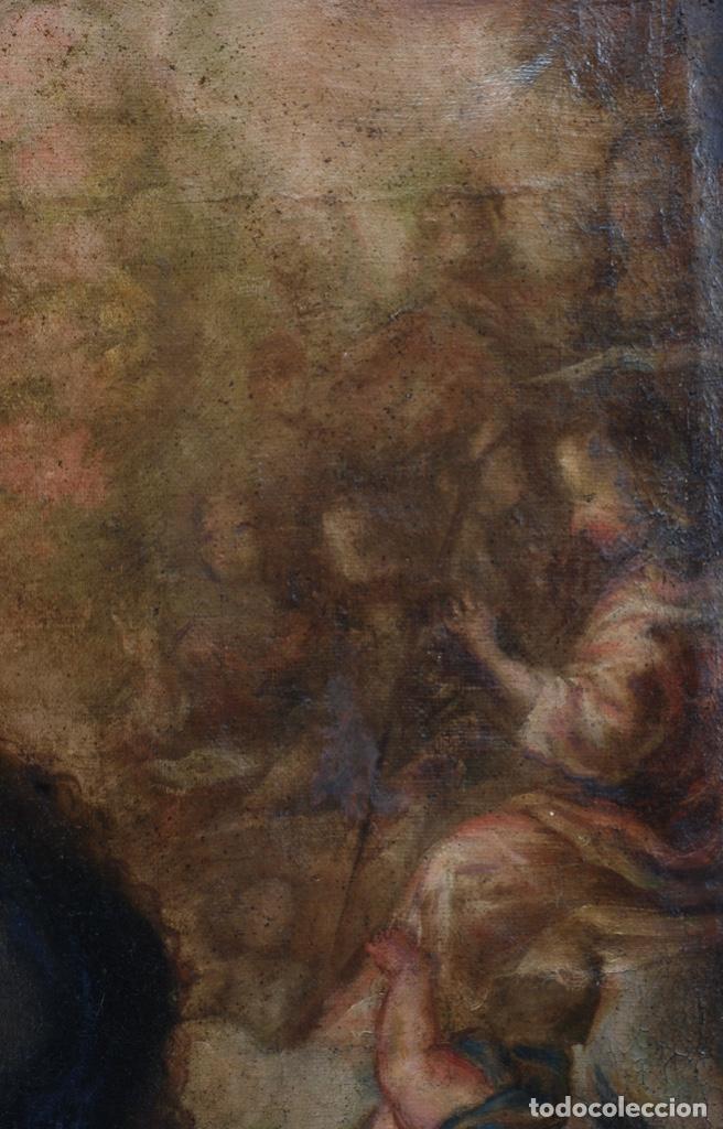 Arte: Óleo lienzo Inmaculada Concepción rodeada de ángeles y arcángeles Escuela sevillana siglo XVIII - Foto 8 - 229366890