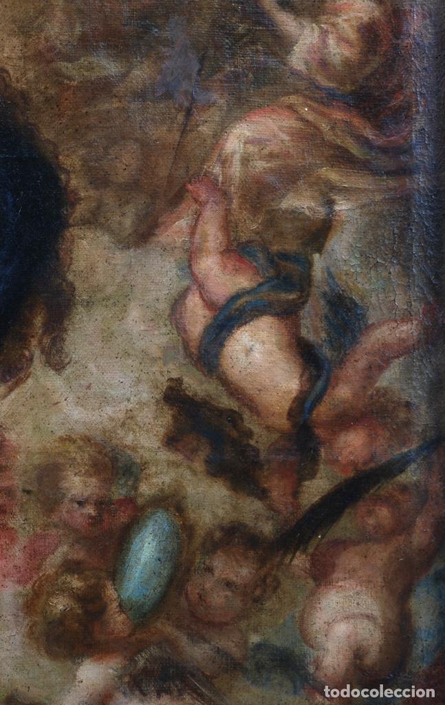 Arte: Óleo lienzo Inmaculada Concepción rodeada de ángeles y arcángeles Escuela sevillana siglo XVIII - Foto 10 - 229366890