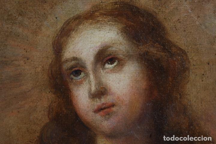 Arte: Óleo lienzo Inmaculada Concepción rodeada de ángeles y arcángeles Escuela sevillana siglo XVIII - Foto 12 - 229366890