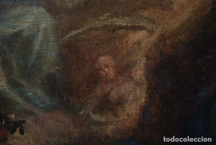 Arte: Óleo lienzo Inmaculada Concepción rodeada de ángeles y arcángeles Escuela sevillana siglo XVIII - Foto 13 - 229366890