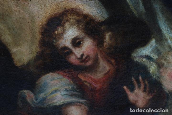 Arte: Óleo lienzo Inmaculada Concepción rodeada de ángeles y arcángeles Escuela sevillana siglo XVIII - Foto 14 - 229366890