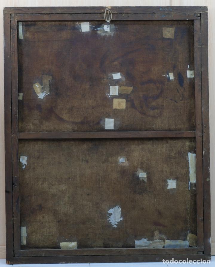 Arte: Óleo lienzo Inmaculada Concepción rodeada de ángeles y arcángeles Escuela sevillana siglo XVIII - Foto 17 - 229366890