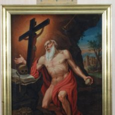 Arte: ÓLEO LIENZO SAN JERÓNIMO PENITENTE ESCUELA TOLEDANA SIGLO XVIII. Lote 201533037