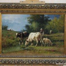 Arte: ÓLEO LIENZO PAISAJE PASTORIL ANDRÉS CORTÉS Y AGUILAR (SEVILLA 1812-1879). Lote 201540926