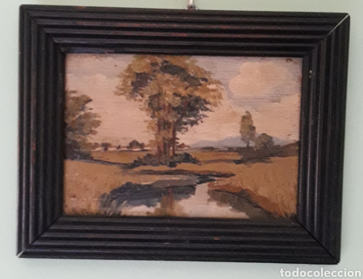 Arte: Antiguo y bonito cuadro óleo tabla firmado - Foto 2 - 201619431
