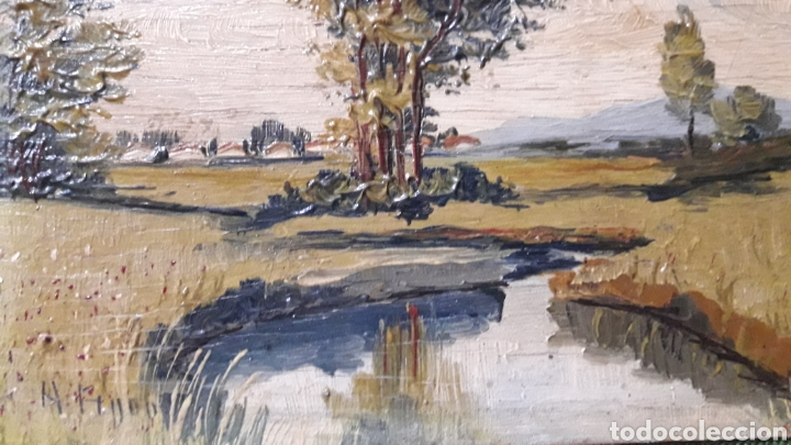 Arte: Antiguo y bonito cuadro óleo tabla firmado - Foto 3 - 201619431