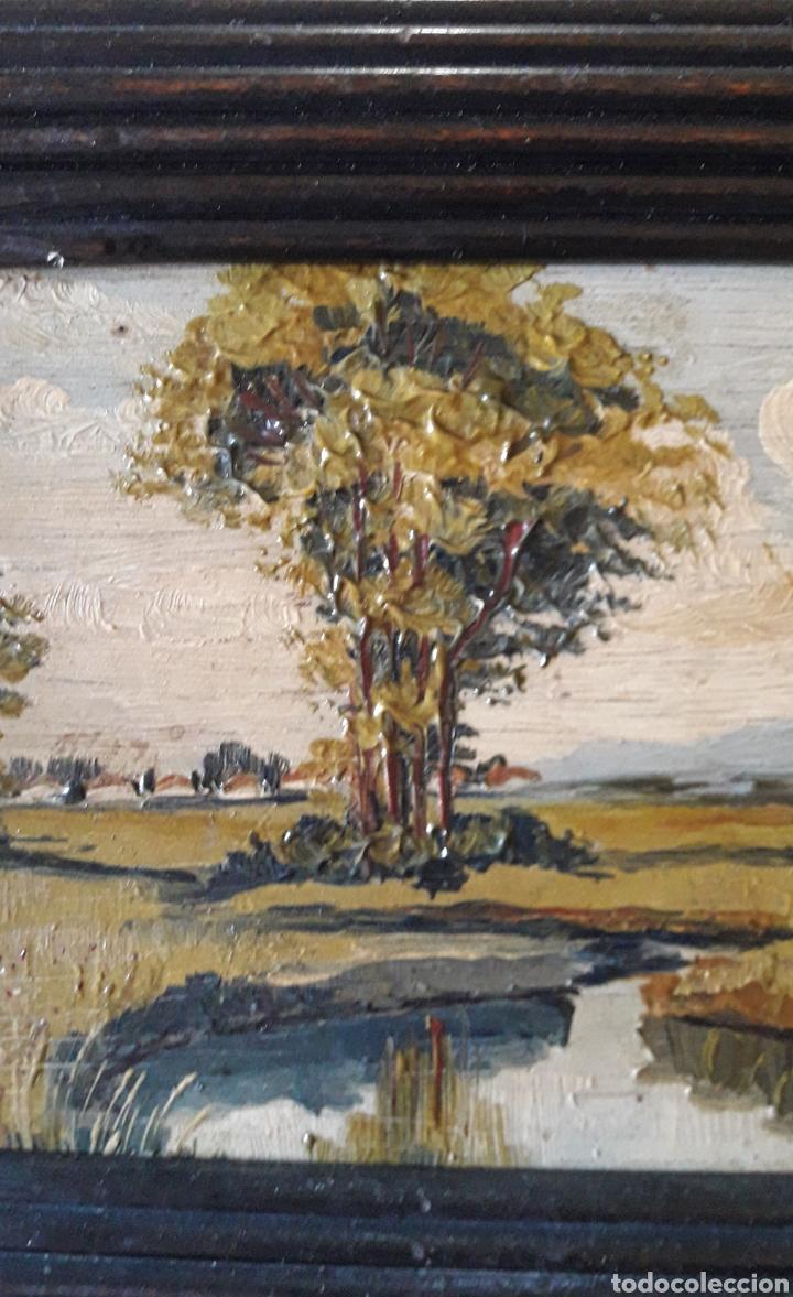Arte: Antiguo y bonito cuadro óleo tabla firmado - Foto 6 - 201619431