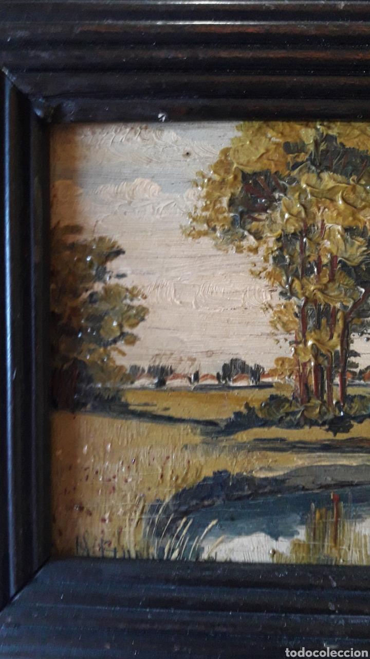 Arte: Antiguo y bonito cuadro óleo tabla firmado - Foto 7 - 201619431