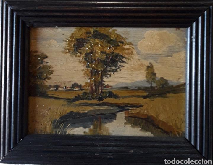 Arte: Antiguo y bonito cuadro óleo tabla firmado - Foto 8 - 201619431