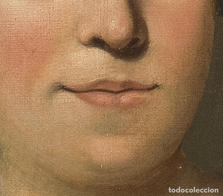 Arte: Óleo lienzo Retrato de dama Escuela francesa siglo XVIII - Foto 7 - 197083196
