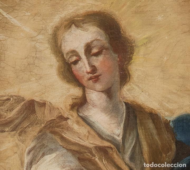 Arte: Óleo lienzo Inmaculada Escuela valenciana siglo XVIII - Foto 6 - 197343010