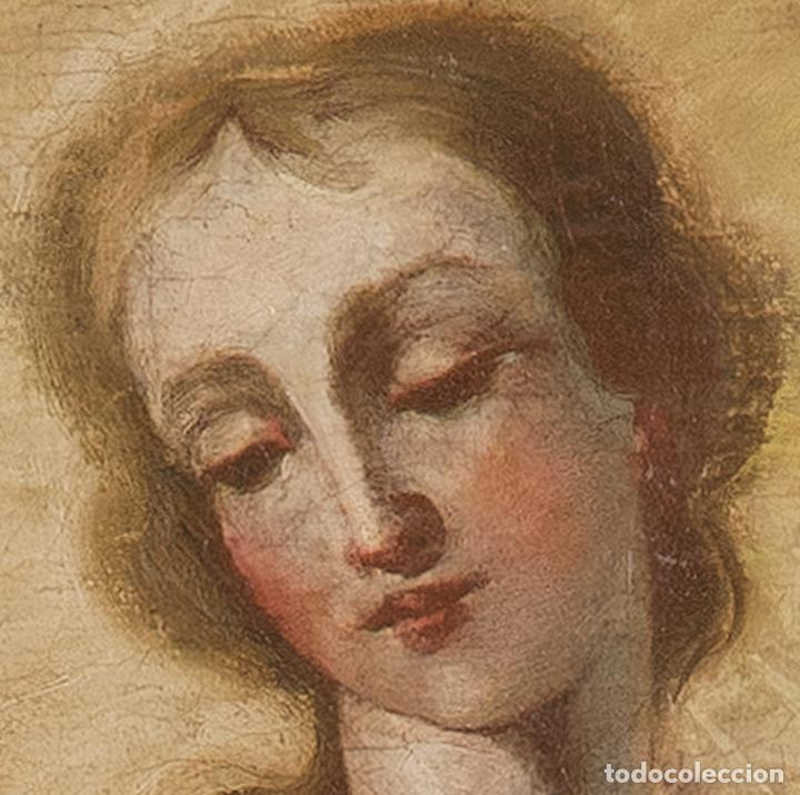 Arte: Óleo lienzo Inmaculada Escuela valenciana siglo XVIII - Foto 7 - 197343010