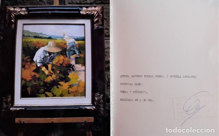 Arte: Óleo Viñedos de Alfonso Berral Rubio (Escuela catalana, s.XX) - Foto 3 - 201653415