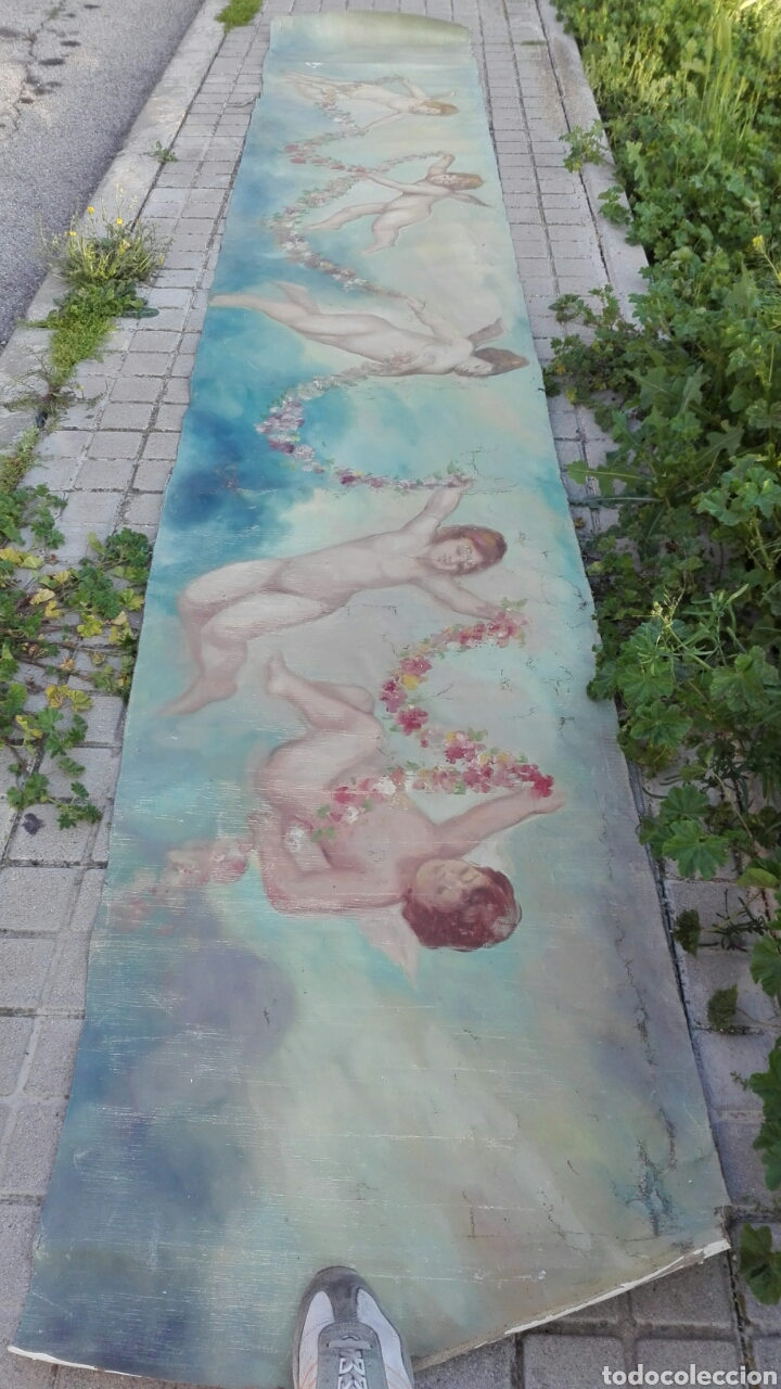 ÓLEO SOBRE LIENZO DE ÁNGELES 4500 CM X 70 CM APROXIMADA (Arte - Pintura - Pintura al Óleo Antigua sin fecha definida)