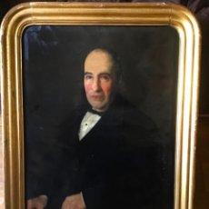 Arte: ANTIGUA PINTURA . RETRATO DE NOBLE ESPAÑOL 1855 , CON GRAN MARCO DE EPOCA . Lote 201673401