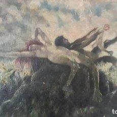 Art: PINTURA AL OLEO SOBRE CARTON ,FAMILIA DE SIRENAS. Lote 201831740