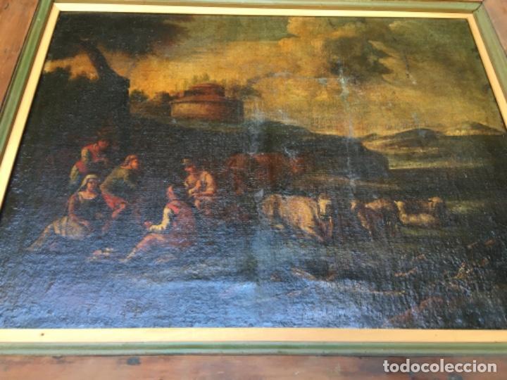 (M) ANTIGUA PINTURA AL ÓLEO PAISAJE S. XVIII PRINCIPIO S. XIX REENTELADO . ALGUNOS DESPERFECTOS VER (Arte - Pintura - Pintura al Óleo Antigua siglo XVIII)