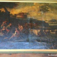 Arte: (M) ANTIGUA PINTURA AL ÓLEO PAISAJE S. XVIII PRINCIPIO S. XIX REENTELADO . ALGUNOS DESPERFECTOS VER . Lote 201843397