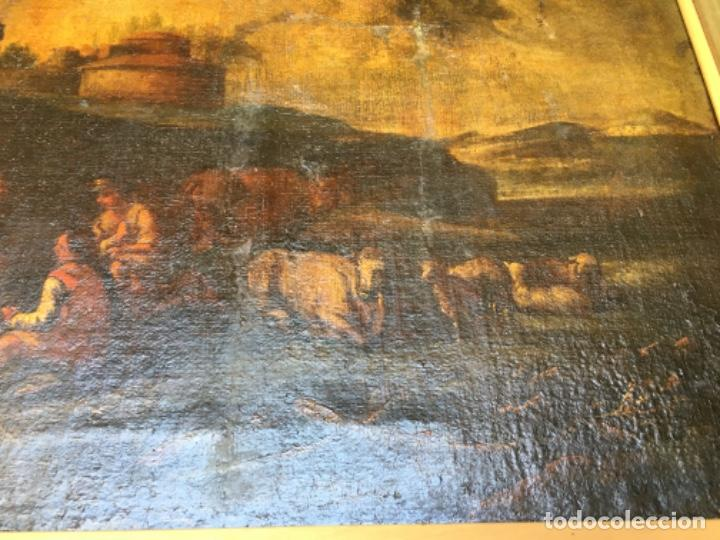 Arte: (M) ANTIGUA PINTURA AL ÓLEO PAISAJE S. XVIII principio S. XIX REENTELADO . Algunos desperfectos ver - Foto 5 - 201843397