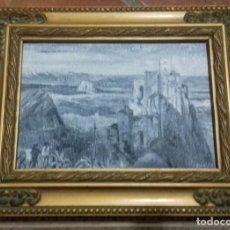 Arte: VISTA DE GAUCIN. CASTILLO DEL AGUILA. OLEO SOBRE TABLA 17,5X12,5. ENMARCADO.. Lote 202038680