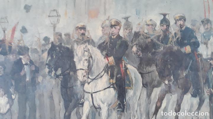 Arte: magnifica obra a identificar de maestro,oleo sobre lienzo pegado a carton,madrid siglo xix - Foto 2 - 202075691