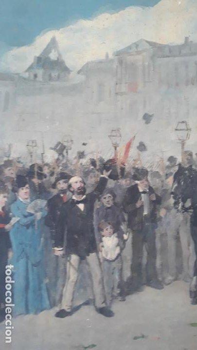 Arte: magnifica obra a identificar de maestro,oleo sobre lienzo pegado a carton,madrid siglo xix - Foto 3 - 202075691