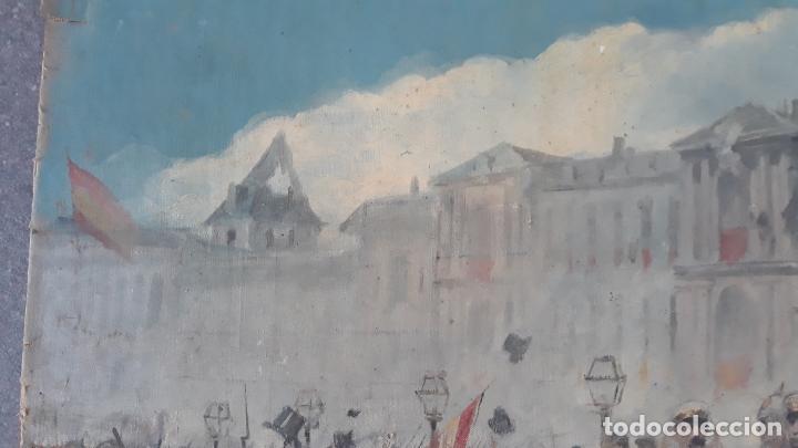 Arte: magnifica obra a identificar de maestro,oleo sobre lienzo pegado a carton,madrid siglo xix - Foto 4 - 202075691