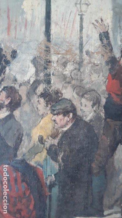 Arte: magnifica obra a identificar de maestro,oleo sobre lienzo pegado a carton,madrid siglo xix - Foto 6 - 202075691