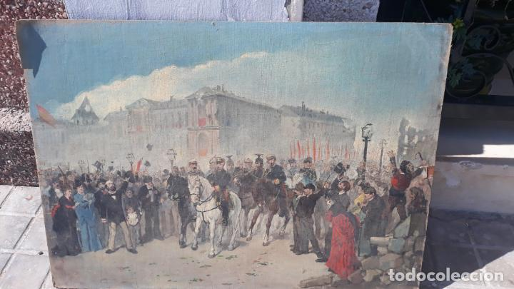 Arte: magnifica obra a identificar de maestro,oleo sobre lienzo pegado a carton,madrid siglo xix - Foto 11 - 202075691