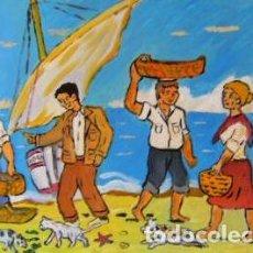 Arte: PESCADORES .-ÓLEO SOBRE LIENZO EN BASTIDOR ,45X65 CM. DE CRESPO. Lote 202100625