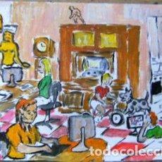 Arte: CRONAVIRUS .-EN CASA CON LOS NIÑOS,ÓLEO LIENZO SIN BASTIDOR 29,7X42 CM. DE CRESPO. Lote 202100868