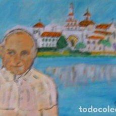 Arte: ROCIO.-JUAN PABLO II EN EL ROCÍO,ÓLEO LIENZO SIN BASTIDOR 29,7X42 CM. DE CRESPO. Lote 202101062