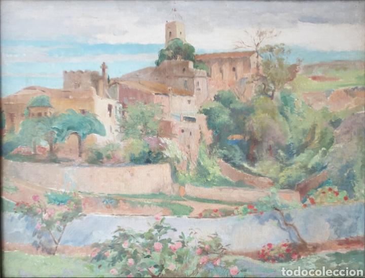 Arte: Oleguer Junyent Sans (Barcelona, 1876-1956) - Esplugas de Llobregat.oleo/tela.Firmado.1938. - Foto 2 - 195388607