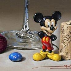 Arte: PINTURA ÓLEO JAVIER MULIÓ BODEGÓN STILL LIFE HIPEREALISMO MICKEY MOUSE + CERTIFICADO DE AUTENTICIDAD. Lote 202300070