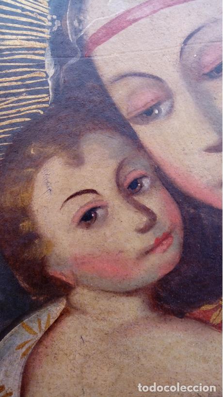 Arte: ÓLEO S/LIENZO PEGADO A TABLA -VIRGEN CON NIÑO-. DIM.- 93X68 CMS. ESC COLONIAL S. XVII - Foto 4 - 105627727