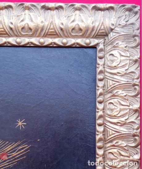 Arte: ÓLEO S/LIENZO PEGADO A TABLA -VIRGEN CON NIÑO-. DIM.- 93X68 CMS. ESC COLONIAL S. XVII - Foto 12 - 105627727