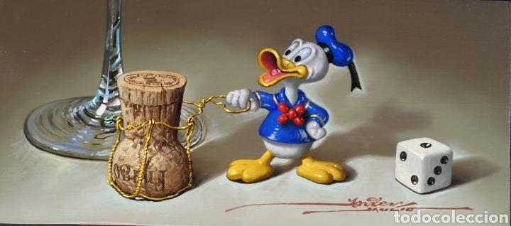 PINTURA ÓLEO JAVIER MULIÓ BODEGÓN STILL LIFE HIPEREALISMO PATO DONALD + CERTIFICADO DE AUTENTICIDAD (Arte - Pintura Directa del Autor)